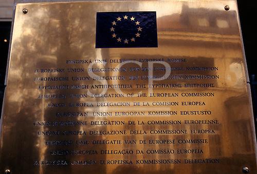Prague, Czech Republic. Multilingual brass sign of the European Union (EU) delegation in twelve languages.