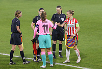 Alexia Putellas (11 Barcelona) gives a fist bump to Mandy van den Berg (4 PSV) before a female soccer game between PSV Eindhoven Vrouwen and Barcelona, in the round of 32, 1st leg of Uefa Womens Champions League of the 2020 - 2021 season , Wednesday 9th of December 2020  in , Eindhoven, the Netherlands. PHOTO SPORTPIX.BE | SPP | SEVIL OKTEM