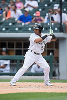 Leury Garcia (24) of the Charlotte Knights at bat against the Norfolk Tides at BB&T BallPark on June 7, 2015 in Charlotte, North Carolina.  The Tides defeated the Knights 4-1.  (Brian Westerholt/Four Seam Images)
