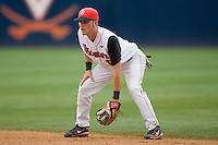 Second baseman Matt Wessinger #0 of the St. John's Red Storm on defense against the VCU Rams at the Charlottesville Regional of the 2010 College World Series at Davenport Field on June 5, 2010, in Charlottesville, Virginia.  The Red Storm defeated the Rams 8-6.  Photo by Brian Westerholt / Four Seam Images