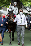 August 15, 2021, Deauville (France) - Palace Pier with Lanfranco Dettori abroad after winning the Prix du Haras de Fresnay-Le-Buffard Jaques Le Marois (Gr I) at Deauville-La Touques Racecourse on August 15 in Deauville. [Copyright (c) Sandra Scherning/Eclipse Sportswire)]