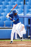 GCL Blue Jays right fielder Chavez Young (32) at bat during the first game of a doubleheader against the GCL Phillies on August 15, 2016 at Florida Auto Exchange Stadium in Dunedin, Florida.  GCL Phillies defeated the GCL Blue Jays 7-5 in a continuation of a game originally started on July 30th.  (Mike Janes/Four Seam Images)