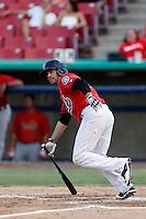 Daniel Paolini #2 of the High Desert Mavericks bats against the Visalia Rawhide at Stater Bros. Stadium on July 20, 2013 in Adelanto, California. High Desert defeated Visalia, 7-4. (Larry Goren/Four Seam Images)