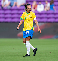 ORLANDO, FL - FEBRUARY 21: Marta #10 of Brazil yells to her teammates during a game between Brazil and USWNT at Exploria Stadium on February 21, 2021 in Orlando, Florida.