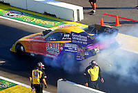 Aug 15, 2014; Brainerd, MN, USA; NHRA funny car driver Bob Bode during qualifying for the Lucas Oil Nationals at Brainerd International Raceway. Mandatory Credit: Mark J. Rebilas-