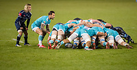 8th January 2021; AJ Bell Stadium, Salford, Lancashire, England; English Premiership Rugby, Sale Sharks versus Worcester Warriors; Francois Hougaard of Worcester Warriors feeds into the scrum watched by Faf De Klerk of Sale Sharks