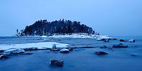 A pre-dawn view of Little Presque Isle in late December. Marquette, MI
