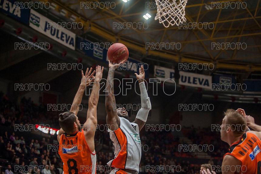 VALENCIA, SPAIN - December 2: DE Andre Kane, Antoine Diop during EUROCUP match between Valencia Basket Club and Ratiopharm ULM at Fonteta Stadium on December 2, 2015