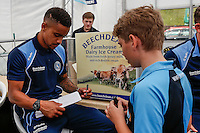 Paris Cowan-Hall sign an autograoh during the 2016/17 Kit Launch of Wycombe Wanderers to the public at Adams Park, High Wycombe, England on 10 July 2016. Photo by David Horn.