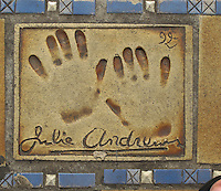 Hand print of the film star, Julie Andrews, outside the Palais des Festivals et des Congres, Cannes, France.