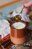 Europe/France/Aquitaine/64/Pyrénées-Atlantiques/Pays-Basque/Briscous: Mamia, Caillé au lait de brebis des Pyrénées chez Pascal Elhuyar éleveur _ ce fromage Caillé au lait de brebis se consomme avec du miel - Maison Pelloenia