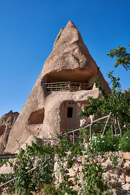 Cafeteria Balkonlu a typical fairy chimney cave house, Uchisar, near Goreme, Cappadocia, Nevsehir, Turkey