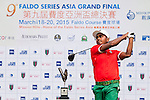 Mohammad Rasel of Bangladesh tees off at tee one during the 9th Faldo Series Asia Grand Final 2014 golf tournament on March 18, 2015 at Mission Hills Golf Club in Shenzhen, China. Photo by Xaume Olleros / Power Sport Images