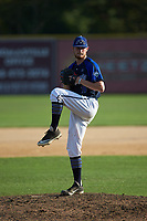 Martinsville Mustangs relief pitcher Kevin Heinrich (11) (Arkansas) in action against the High Point-Thomasville HiToms at Finch Field on July 26, 2020 in Thomasville, NC.  The HiToms defeated the Mustangs 8-5. (Brian Westerholt/Four Seam Images)