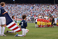 USA starting XI during the playing of the USA national anthem. The men's national teams of the United States and Argentina played to a 0-0 tie during an international friendly at Giants Stadium in East Rutherford, NJ, on June 8, 2008.