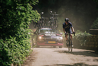 Andrew Fenn (GBR/Aquablue) eating dust<br /> <br /> 3rd Dwars Door Het hageland 2018 (BEL)<br /> 1 day race:  Aarschot > Diest: 198km