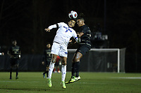 WINSTON-SALEM, NC - DECEMBER 07: Noah Billingsley #7 of the University of California Santa Barbara and Calvin Harris #22 of Wake Forest University challenge for a header during a game between UC Santa Barbara and Wake Forest at W. Dennie Spry Stadium on December 07, 2019 in Winston-Salem, North Carolina.