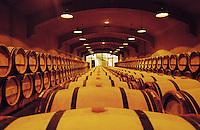 Oak barrel aging and fermentation cellar. Chateau du Tertre, Margaux, Medoc, Bordeaux, France