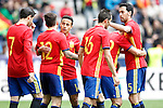Spain's players celebrate goal during friendly match. June 1,2016.(ALTERPHOTOS/Acero)