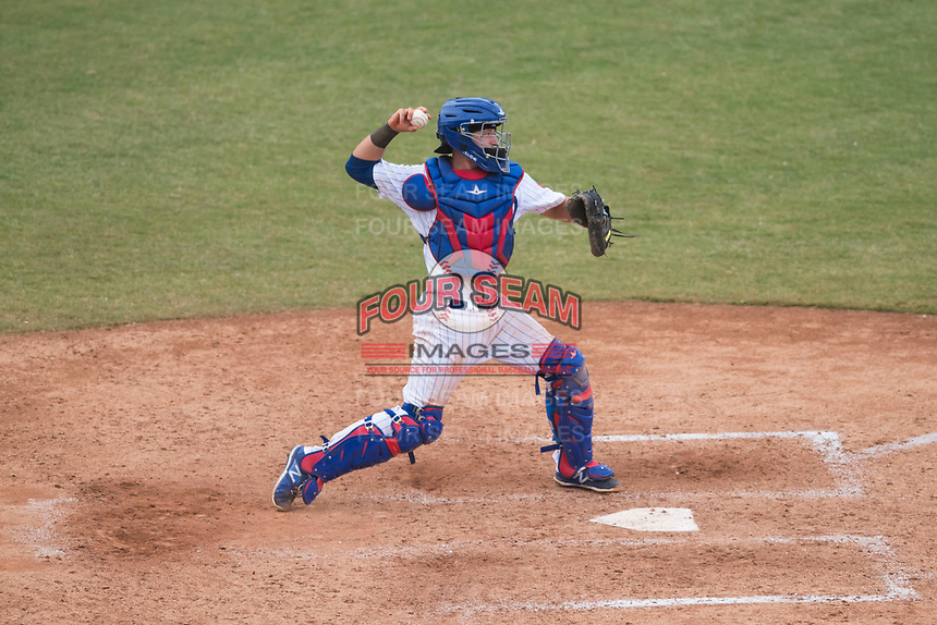 Mesa Solar Sox catcher P.J. Higgins (12), of the Chicago Cubs organization, throws to second base during an Arizona Fall League game against the Peoria Javelinas at Sloan Park on October 11, 2018 in Mesa, Arizona. Mesa defeated Peoria 10-9. (Zachary Lucy/Four Seam Images)