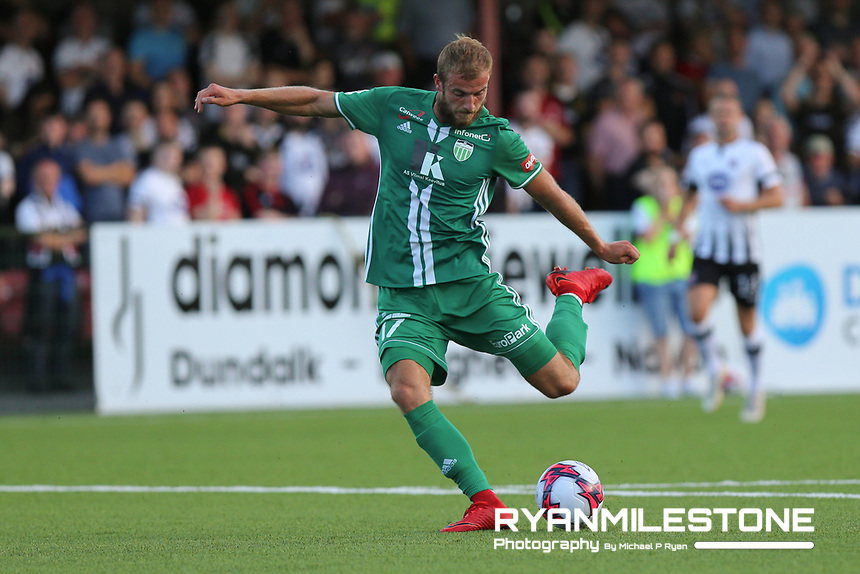 Roman Debelko of Levadia Tallinn scores a goal during the UEFA Europa League First Qualifying Round Second Leg between Dundalk FC and Levadia Tallinn on Thursday 19th July 2018 at Oriel Park, Dundalk, Co Louth. Photo By Michael P Ryan