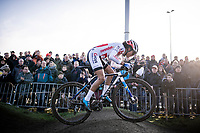 eventual race winner Ceylin Del Carmen Alvarado (NED/Corendon-Circus) flying over the pump track<br /> <br /> Azencross Loenhout 2019 (BEL)<br />  <br /> ©kramon