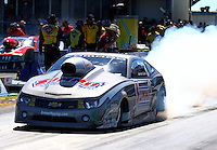 Sept. 22, 2013; Ennis, TX, USA: NHRA pro stock driver Jason Line during the Fall Nationals at the Texas Motorplex. Mandatory Credit: Mark J. Rebilas-