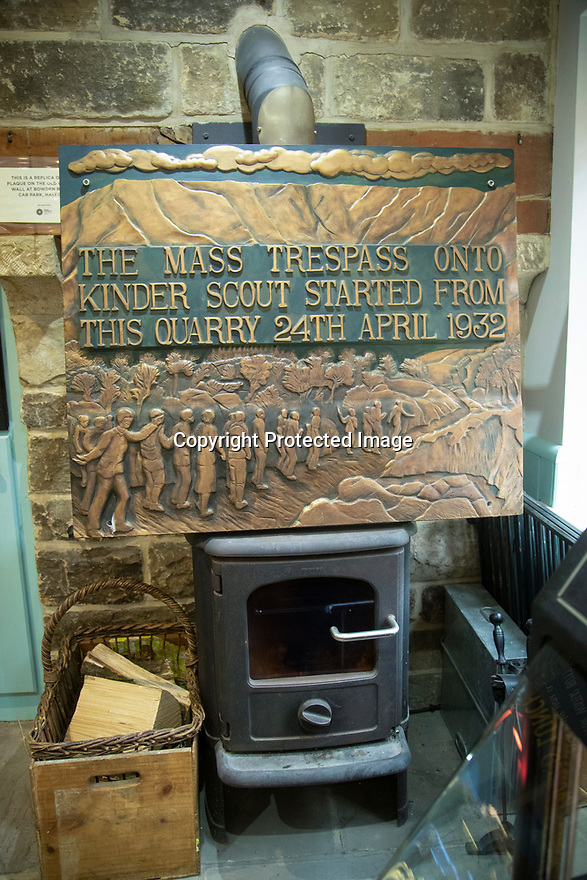 03/06/19<br /> <br /> Replica of mass trespass plaque.<br /> <br /> A new art trail in the Peak District created by Jarvis Cocker, for the National Trust, follows in the footsteps of some of those who took part in the mass trespass onto Kinder Scout in 1932. <br /> <br /> With the aim of getting people to think about how to protect the landscape, the walk presents surprising artworks in places where guest artists have been inspired by the landscape and the trespass.<br /> <br /> The BE KINDER trail, will run from 6 July until 15 September and starts from Edale railway station, Derbyshire.<br /> <br /> All Rights Reserved: F Stop Press Ltd. +44(0)1335 418365   +44 (0)7765 242650 www.fstoppress.com
