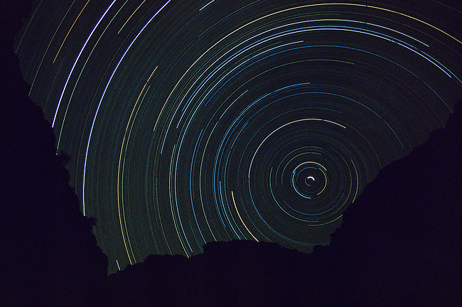 Star Tracks over the Colorado River in the  Grand Canyon