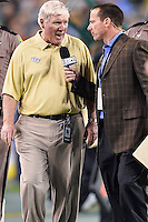 January 01, 2014:<br /> <br /> University of Central Florida Head Coach George O'Leary is interviewed at the halftime while leaving the field during Tostitos Fiesta Bowl at University of Phoenix Stadium in Scottsdale, AZ. UCF defeat Baylor 52-42 to claim it's first ever BCS Bowl trophy.