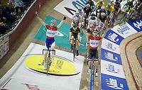 Jasper De Buyst (BEL/Lotto-Soudal) & Otto Vergaerde (BEL/Topsport Vlaanderen-Baloise) present themselves to the crowd<br /> <br /> 2015 Gent 6
