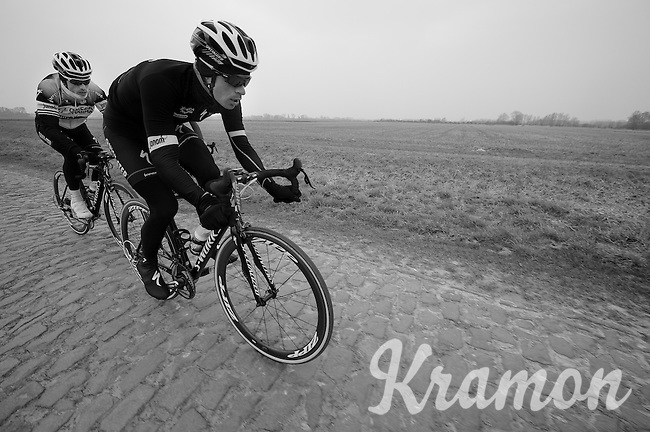 Paris-Roubaix 2013 RECON..Iljo Keisse (BEL) piloting Sylvain Chavanel (FRA).