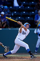Christopher Bono #3 of the UCLA Bruins bats against the Oklahoma Sooners at Jackie Robinson Stadium on March 9, 2013 in Los Angeles, California. (Larry Goren/Four Seam Images)