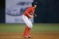 Mickey Moniak (22) of the Lakewood BlueClaws takes his lead off of second base against the Kannapolis Intimidators at Kannapolis Intimidators Stadium on April 6, 2017 in Kannapolis, North Carolina.  The BlueClaws defeated the Intimidators 7-5.  (Brian Westerholt/Four Seam Images)