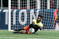FOXBOROUGH, MA - JULY 25: USL League One (United Soccer League) match. Rashid Nuhu #24 of Union Omaha during a game between Union Omaha and New England Revolution II at Gillette Stadium on July 25, 2020 in Foxborough, Massachusetts.