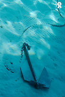 Anchor on seabed, underwater view (Licence this image exclusively with Getty: http://www.gettyimages.com/detail/200482593-001 )
