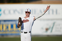 Cole Reynolds (37) (Elon) of the Burlington Sock Puppets warms up in the outfield prior to the game against the Danville Otterbots at Burlington Athletic Park on June 5, 2021 in Burlington, North Carolina. (Brian Westerholt/Four Seam Images)