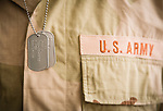 Soldier wearing shirt and dog tags