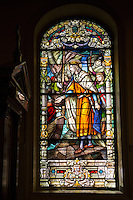 French Quarter, New Orleans, Louisiana.  St. Louis Basilica Stained Glass Window (1929) Depicting King Louis IX of France Departing on the Sixth Crusade, 1248.