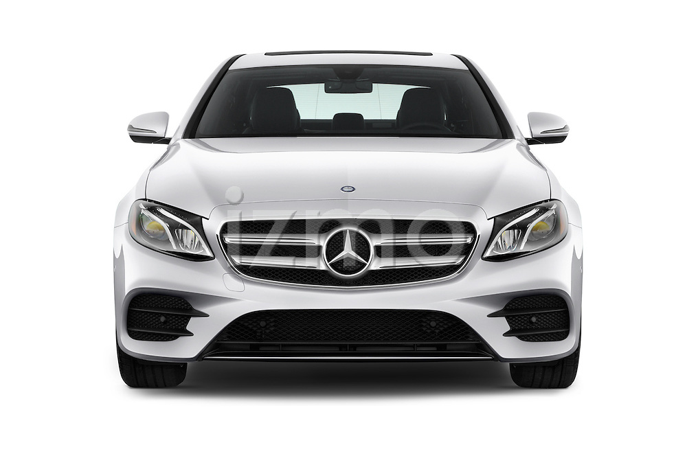 Car photography straight front view of a 2018 Mercedes Benz E-Class E300 4 Door Sedan Front View