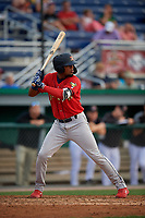 State College Spikes Moises Castillo (29) at bat during a NY-Penn League game against the Batavia Muckdogs on July 2, 2019 at Dwyer Stadium in Batavia, New York.  Batavia defeated State College 1-0.  (Mike Janes/Four Seam Images)
