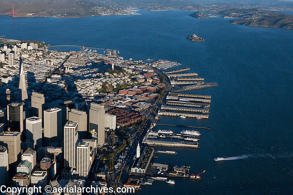 aerial photograph the financial district, Embarcadero, Ferry Building and Superbowl City during Superbowl 50, San Francisco, California