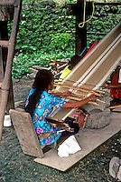 Philippines: Manila--Woman weaving, Nayong Pilipino. Photo '82.