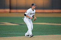 Wake Forest Demon Deacons shortstop Bruce Steel (17) on defense against the Kent State Golden Flashes in game two of a double-header at David F. Couch Ballpark on March 4, 2017 in Winston-Salem, North Carolina.  The Demon Deacons defeated the Golden Flashes 5-0.  (Brian Westerholt/Four Seam Images)