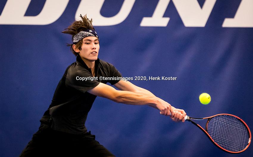Amstelveen, Netherlands, 17  December, 2020, National Tennis Center, NTC, NK Indoor, National  Indoor Tennis Championships,   : Jesse de Jager (NED) <br /> Photo: Henk Koster/tennisimages.com