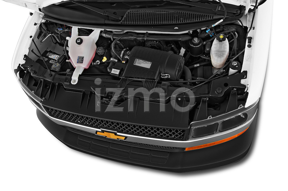 Car stock 2014 Chevrolet Express 2500 LS 2 Door Van engine high angle detail view