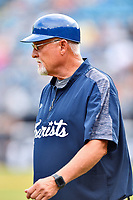 Asheville Tourists development supervisor Randy Ingle (12) during a game against the Augusta GreenJackets at McCormick Field on July 13, 2019 in Asheville, North Carolina. The GreenJackets defeated the Tourists 6-4. (Tony Farlow/Four Seam Images)