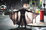 © Joel Goodman - 07973 332324 . 27/12/2016 . Wigan , UK . A man dressed as Batman . Revellers in Wigan enjoy Boxing Day drinks and clubbing in Wigan Wallgate . In recent years a tradition has been established in which people go out wearing fancy-dress costumes on Boxing Day night . Photo credit : Joel Goodman