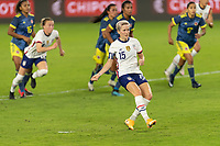 ORLANDO, FL - JANUARY 22: Megan Rapinoe #15 watcher her penalty kick during a game between Colombia and USWNT at Exploria stadium on January 22, 2021 in Orlando, Florida.