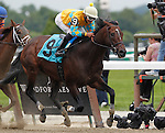 June 9, 2012. #9 Mineswept, Jose Ortiz up, wins race 3 on Belmont Stakes Day, a one-mile allowance optional claiming race for three years old and upward foaled in New York. Belmont Park in Elmont, New York. ©Joan Fairman Kanes/Eclipsesportswire